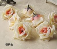 Champagne 50Pcs/Lot 8cm Artificial Silk Big Rose Flower Heads Wedding Christmas Party 6Colors Diy Jewlery Brooch Headwear