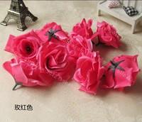 Rose Red 50Pcs/Lot 8cm Artificial Silk Big Rose Flower Heads Wedding Christmas Party 6Colors Diy Jewlery Brooch Headwear