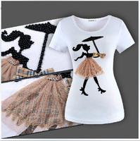 [dan]2014 Shipping Cotton Short Sleeve T Shirt Women Prequel Star Rain Dozen Umbrella Girl Pearl Size S-3xl S-xxxl K0019