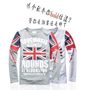 T-shirt long-sleeve water wash american flag nostalgia round neck T-shirt snaki(China (Mainland))