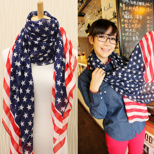2013 summer stars and stripes usa flag fashion all-match fashion elegant scarf chiffon cape(China (Mainland))