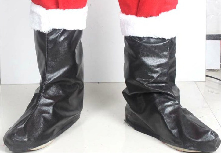 Min.order is $15(mix order)Christmas Santa Clause Boots for Women/Men, Black or White, Costume Props, Free Size, Free Shipping!(China (Mainland))
