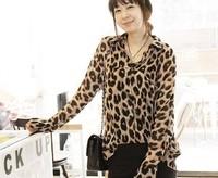 A880 New fashion Sexy Womens Wild Leopard Chiffon Top Loose Shirt Sheer Blouse