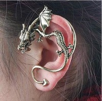 Free Shipping New Alchemy Gothic Dragons Lure Cuff Pewter Earring,Dragon Form Earring