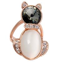Zircon - eye moonstone austria crystal small cat ring finger ring female accessories