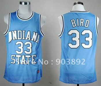 Free shippingIndiana State Sycamores #33 Larry Bird blue ncaa basketball jerseys size s-xxl mix order