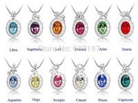1pcs Zodiac Aries Taurus Gemini Cancer Leo Virgo Libra Scorpio Sagittarius Capricorn Aquarius Pisces Necklace pendant crystal