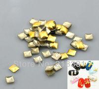 10000Pcs Gold Plated Square Metal Nail Art Decoration Metallic Nail Studs  Tips   Drop 3x3mm