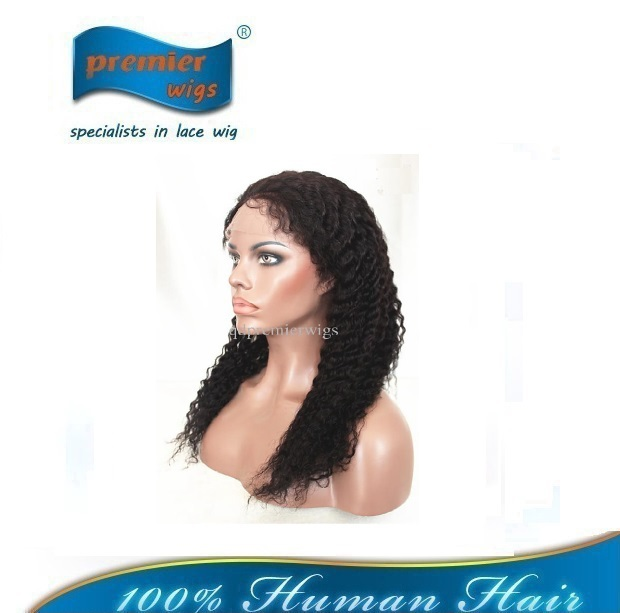 Best quality 100% Chinese Virgin Human Hair Natural Color deep Wave Lace Front Wig For Lady(China (Mainland))