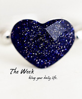Vintage elegant blue sand-gravel love heart ring finger ring rose gold