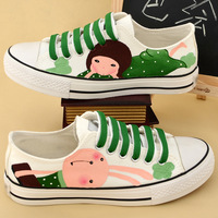 Cow muscle outsole lacing low canvas shoes hand-painted shoes sweet women's comfortable flat shoes summer 2013 painted shoes