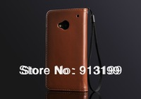 Free Shipping Flip Leather Case Cover For HTC One M7 801e Wallet Case Stand Design Card Holder 11 Color Mix