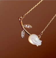 free shipping shell made 18k gold plated trulip pendant necklace min order 8$