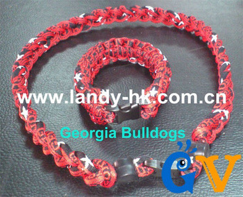 Fashion Custom Team Titanium Ionic Sports Necklace + Team Paracord Survival Bracelet, 100 set/lot, Free Shipping