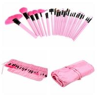 Pro Makeup Brush24PCS Cosmetic Brushe Foundation Eyeshadow Mascara Lip Brushes Set Eyebrow Comb Eyeshadow with Roll up Pink Case