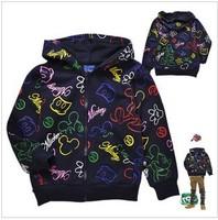 Mickey Hoodies Kids Fleece Outwears Black Boys Sweatshirts Kids Coat  Spring Boy's Clothes 2013
