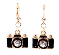 (Min Order $15) New lovely Camera drop earrings Free Shipping
