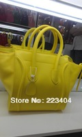 The micro handbags with the real leather bags yellow color smile bags Free shipping