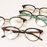 Fresh small circle metal fashion vintage frame rivet eyeglasses frame glasses box