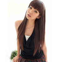 Wig long straight hair qi bangs fluffy repair high temperature wire wig