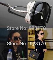 Free shipping fashion dragonfly diamond vintage mirror large frame women's sunglasses CR070