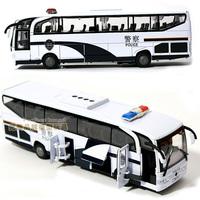 wholesale Acoustooptical 110 alloy big bus child police car toy bus large coach model  free shipping
