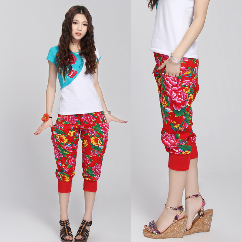 2013 New Hot Summer 13 summer harem pants red peony cotton prints capris 32170002(China (Mainland))