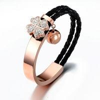 High-quality plated 18k rose gold bracelet Leather clover charm titanium Stainless Steel Bracelet NS-B389