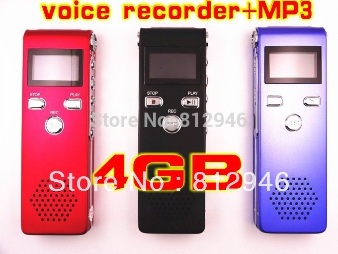 Rechargeable 4GB USB VOR 650Hr Digital Audio Voice Recorder Dictaphone MP3 Player,3 colors,free shipping,1pc/lot(China (Mainland))