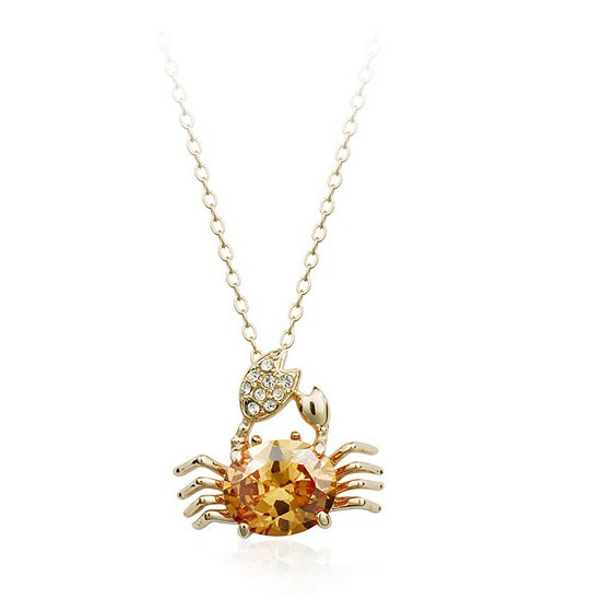 Lovely Golden Crab 18K Gold Plated Pendant Necklace Jewelry Austrian Crystal SWA Elements Wholesale(China (Mainland))