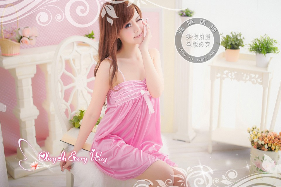 Lovely Comfortable Princess Nightwear for Lovely Girls!! Free size pink color sexy long dress string sleep wear,pajamas,bathrobe(China (Mainland))