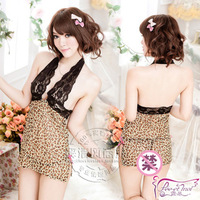 Lace tulle transparent nightgown women's sexy underwear pants halter-neck vent sexy leopard print set temptation