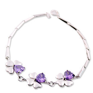 Girlfriend gift gifts 925 pure silver lucky four leaf clover amethyst bracelet female silver bracelet accessories(China (Mainland))