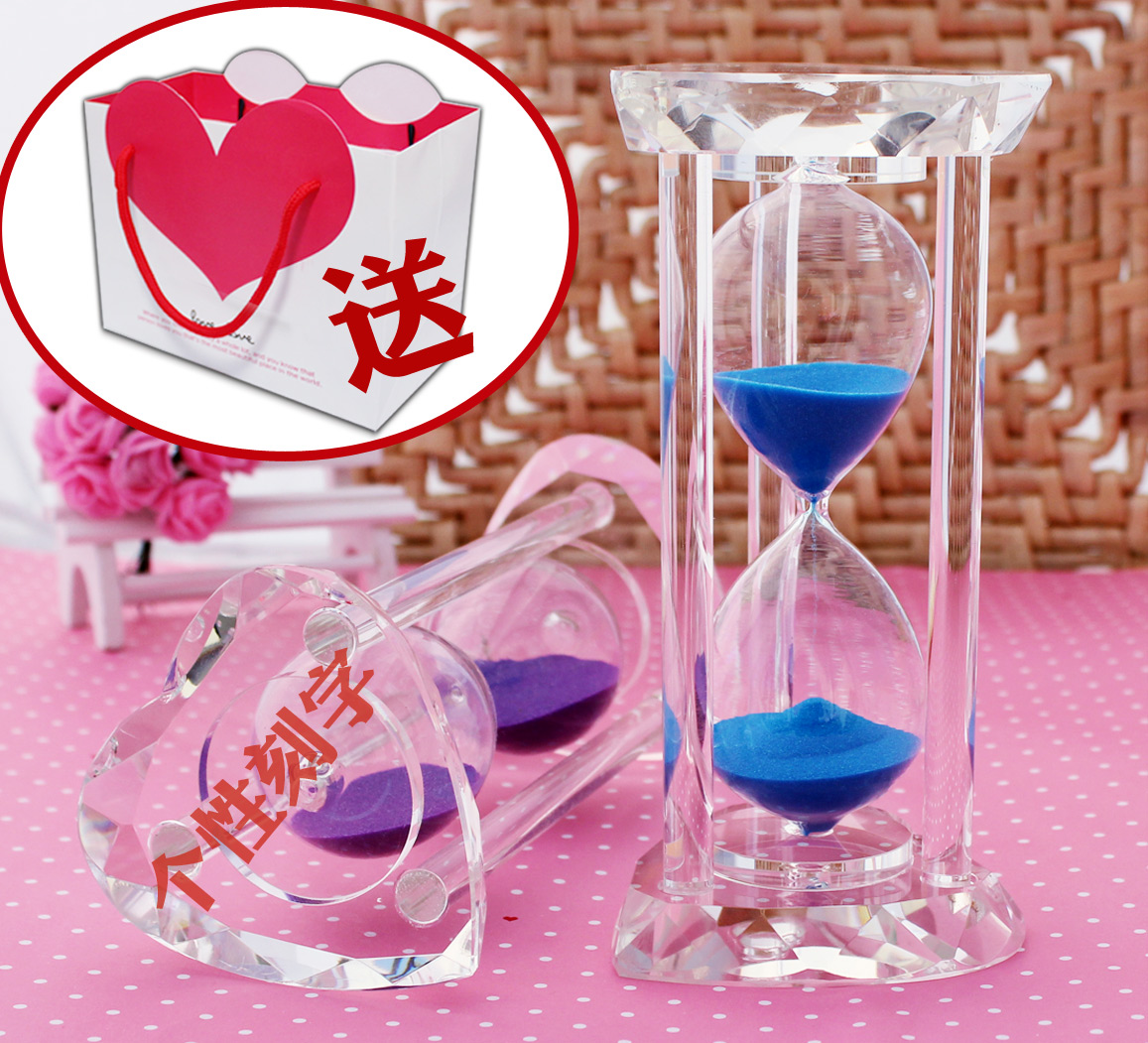 Free shipping Day gift girlfriend gifts heart crystal hourglass timer wedding gifts(China (Mainland))