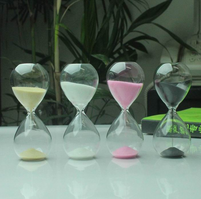 Free shipping Transparent glass hourglass glass timer birthday decoration gift married(China (Mainland))
