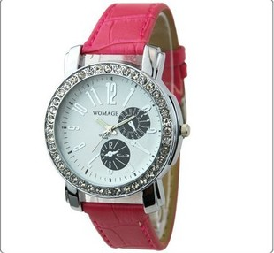 Watches for women fashion table diamond genuine leather rhinestone table vintage lady (Mix Order,Free Shipping)(China (Mainland))