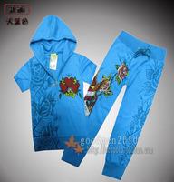 Free shipping Ed hard skull personalized print summer short-sleeve Women 100% cotton sweatshirt sports set