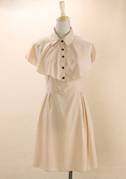Western dress japanese style formal turn-down collar buckle button wide belt patchwork chiffon butterfly sleeve A11351