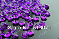 1000pcs Acrylic Dark purple 10mm 4 CT Diamond Confetti Wedding Reception Table Scatter Decoration+free shipping