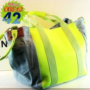 Big bags new arrival 2013 female portable neon patchwork denim bag canvas bag female handbag fashion women's(China (Mainland))
