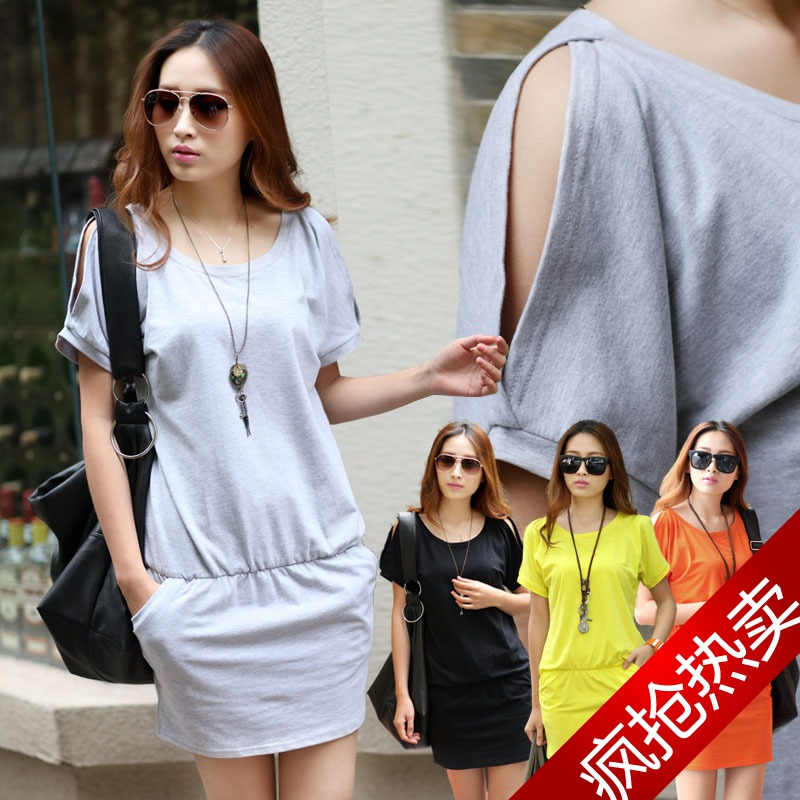 Hot-selling one-piece dress summer new arrival summer 100% elastic cotton pure color strapless design o-neck(China (Mainland))