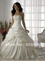 New Long  White/Ivory Appliques Strapless Bridal Wedding Dress Size 6 8 10 12 14 16 in stock or Custom-made