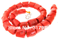 "superb 19"" 8X14mm red coral necklace"