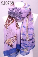 Min.order is $10 (mix order)Charming Women's a overlong Cool giraffe shawl scarf Stole wrap SJ0768 Free Shipping