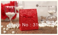 Free shipping 50pcs/lot Classical bowknot style Wedding Candy Boxes gift candy chocolate boxes  Support OEM
