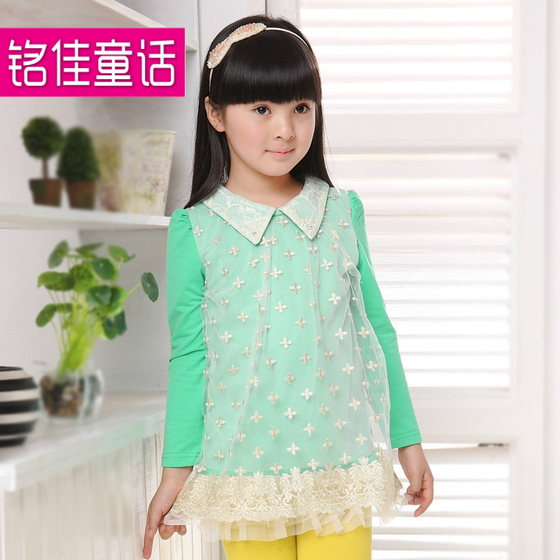 2013 children's clothing child slip female child one-piece dress long-sleeve child princess dress lace skirt spring and autumn(China (Mainland))
