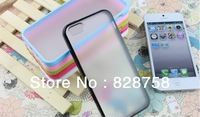Matte Frosted Crystal Transparent TPU Candy Bumper Frame Case Cover For iPhone 5 5S 20pcs/lot=10pcs Case +10pcs Screen Protector