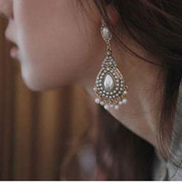 Bohemian style Fashion pearl tassel water drop earrings Indian earrings .Free shipping .