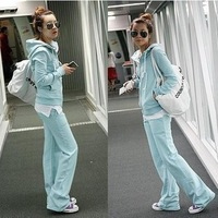 2013 spring with a hood casual set female trousers sweatshirt twinset sports yoga clothes set