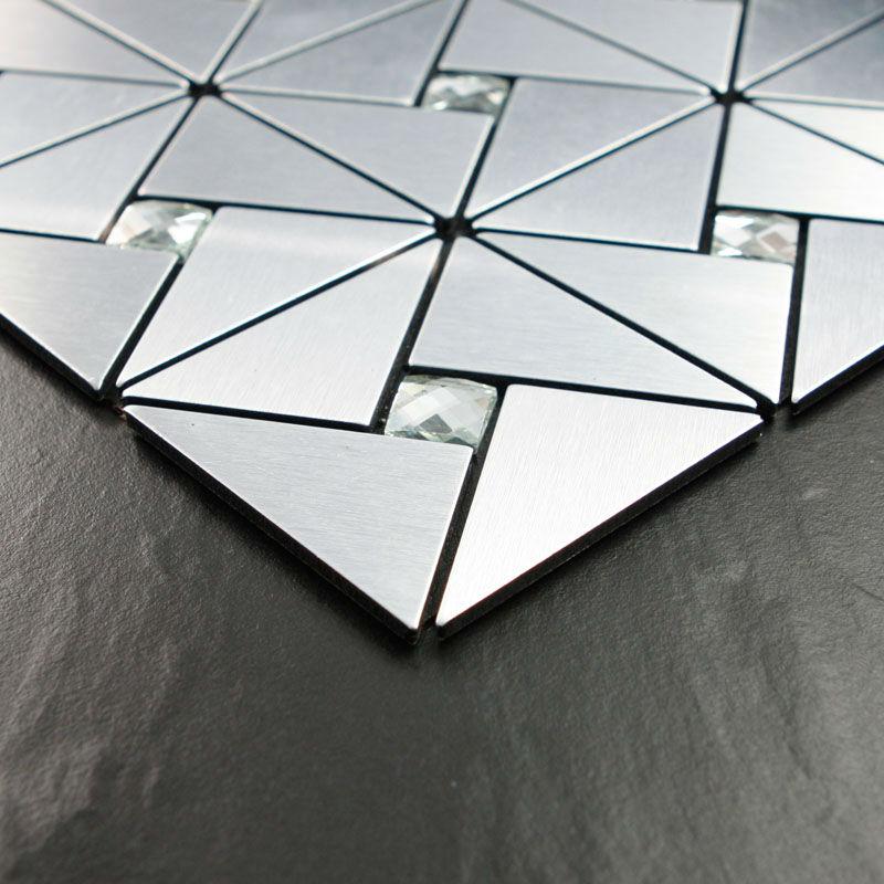 mosaic tiles aluminum crystal glass blend diamond brushed